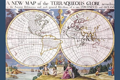 World Map Edward Wells c 1700 Antique Vintage Style Poster 2