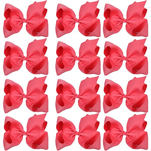 Large Boutique Hair Bows 6 Inch Cheerleading Cheerleader Cheer Bow Alligator Clips(Passion Fruit) -