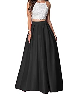 Elleybuy Womens Two Pieces 2018 Prom Evening Dresses Lace Satin Formal Gowns