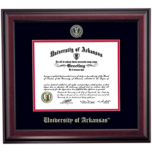 Amazon.com - Campus Linens Arkansas Razorbacks Diploma Frame Black Red Matting Embossed Seal -