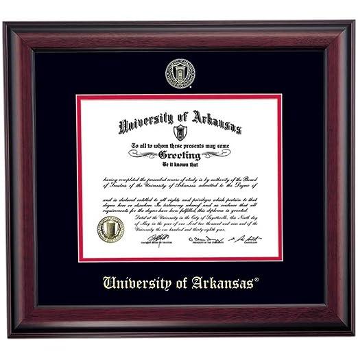 Amazon.com - Campus Linens Arkansas Razorbacks Diploma Frame Black Red Matting Embossed Seal -