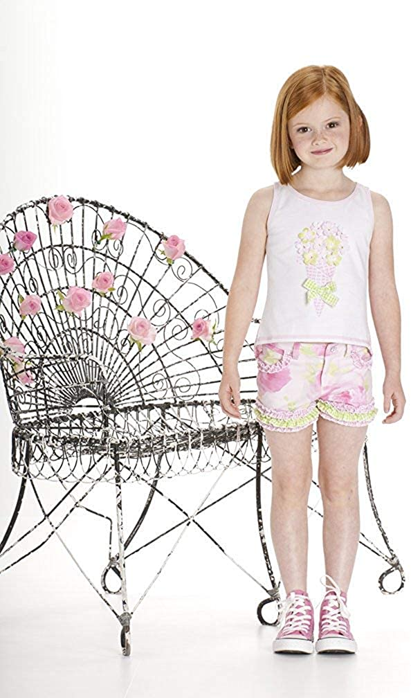 Kate Mack Girls Garden Sweets Flower Gingham Top in White Pink