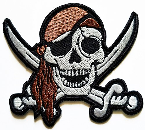 HHO Pirate SKULL CROSS Sword Pirate Patch Embroidered DIY Patches Cute Applique Sew Iron on Kids Craft Patch for Bags Jackets Jeans Clothes -
