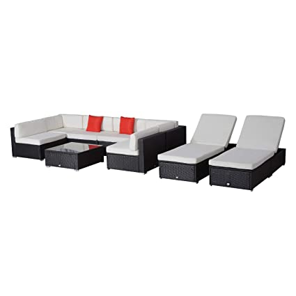 Cool Outsunny 9Pcs Delux Outdoor Indoor Wicker Rattan Sofa Set Garden Furniture Lounger Chair Bed Pillow Table Download Free Architecture Designs Embacsunscenecom