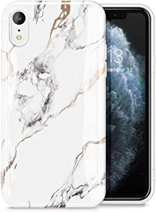 GVIEWIN Marble iPhone XR Case, Ultra Slim Thin Glossy Soft TPU Rubber Gel Phone Case Cover Compatible with iPhone XR 6.1 Inch 2018 Release (White/Gold)