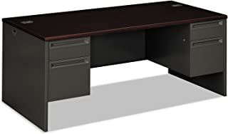 "product image for HON 38180NS Double Pedestal Desk, 72"" by 36"" by 29-1/2"", Mahogany/Charcoal"