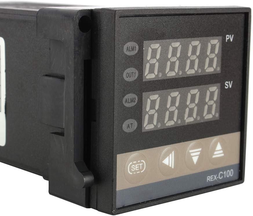 Sensor de Sonda Tipo K Rel/é SSR 40Da Cobeky Kit de Controlador de Temperatura PID Digital Pantalla Digital Dual Termostato REX C100