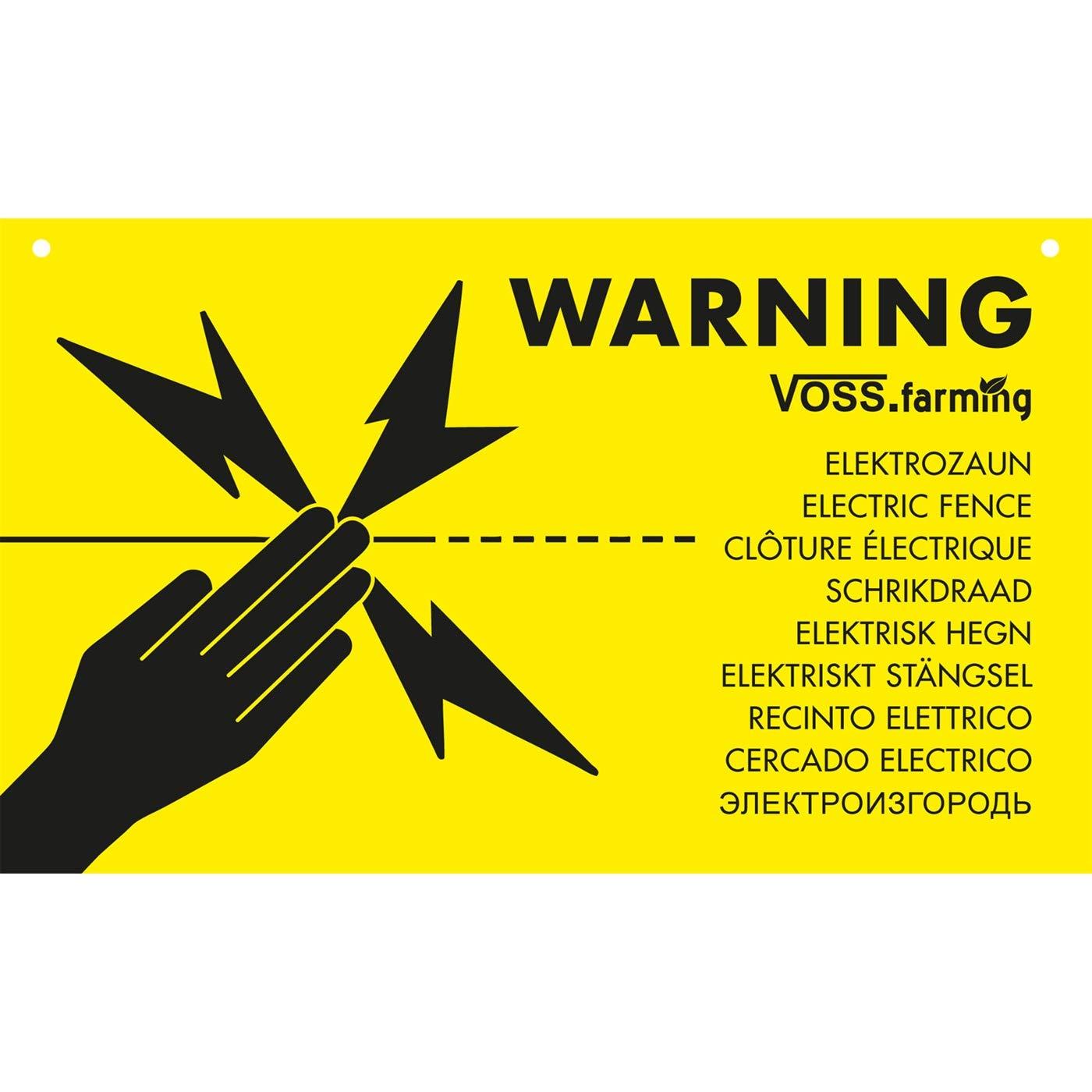 Plaque d'avertissement internationale « Clôture électrique » VOSS.farming, en plusieurs langues