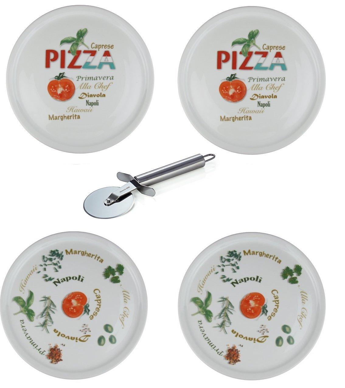 Retsch Arzberg - Pizzateller im Set Inklusive Pizzaschneider ...