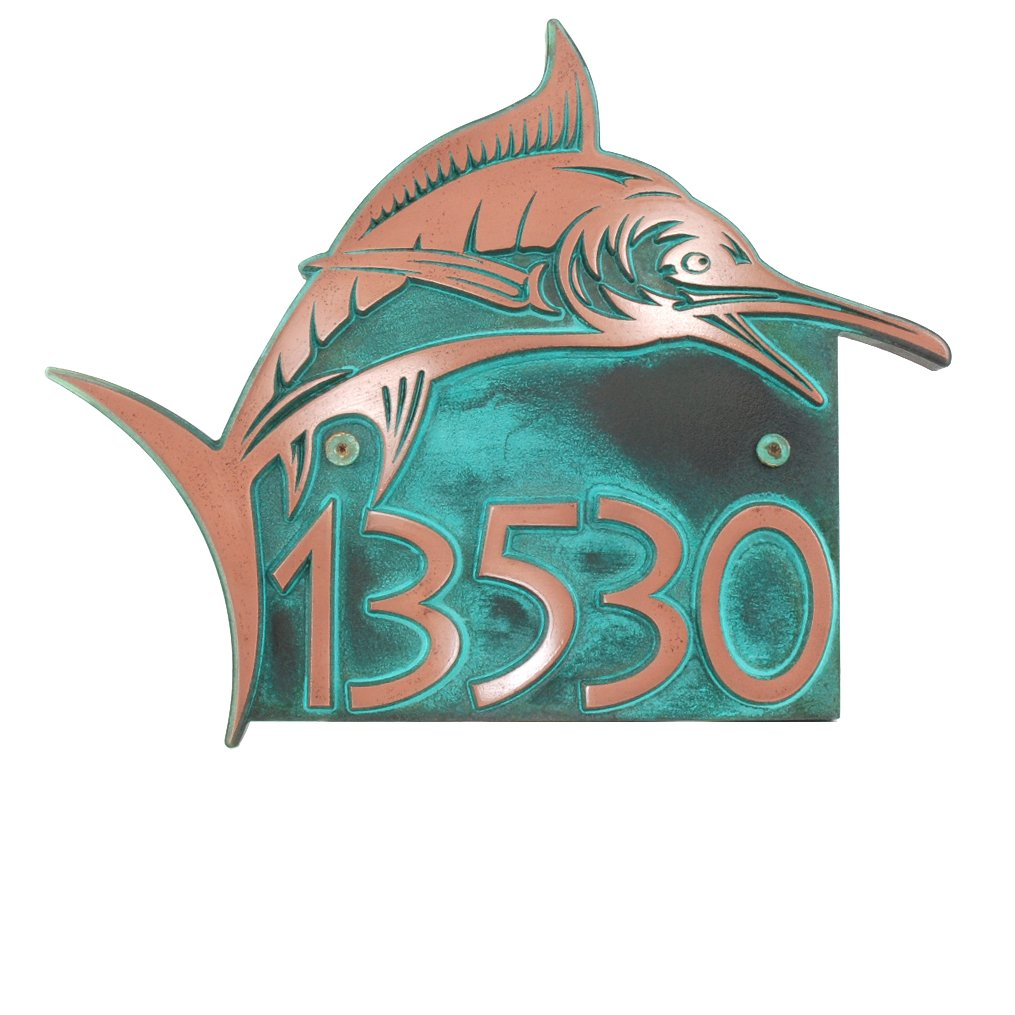 Marlin Home Number 18x14.5 - Raised Copper Verdi Coated by Atlas Signs and Plaques