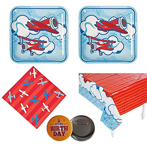 02 Airplanes party supplies - 16 guests - large plates, napkins, tablecover, bonus birthday button