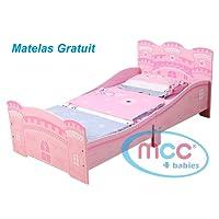 MCC Lit de Princesse/Château (Rose) pour jeunes enfants/MATELAS OFFERT