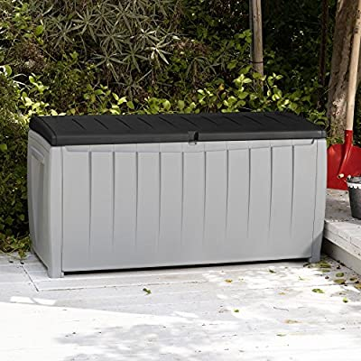 Best Selling Solid Resin Plastic Weather Water Resistant Two-Tone Gray/Black 90-Gallon Outdoor Deck Storage Box Bench Seat- Durable Chip Resistant Deep Storage Compartment- Easy Lift Lid- Deck Pool