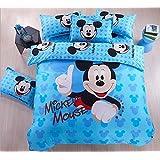 Home Textile Cartoon Pattern Bedding Students Duvet Cover Set, Kids Bed Sheets Boys Girls (Blue Mickey, Single Size 3pcs)