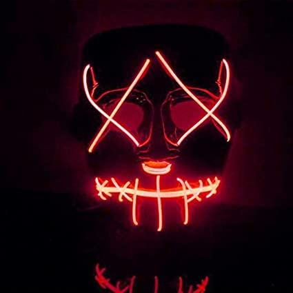 Mascara Halloween LED, Zolimx Adultos el Led Mask de Accesorio para Halloween Cosplay Cartoon Payaso Máscara de Terror para Party Night Club (Rojo)