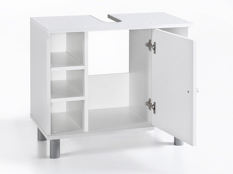 VCM Bad Unterschrank Waschtisch Waschbecken Badschrank Regal Tobina 54x60x32 Badezimmer Schrank Beton//Wei/ß
