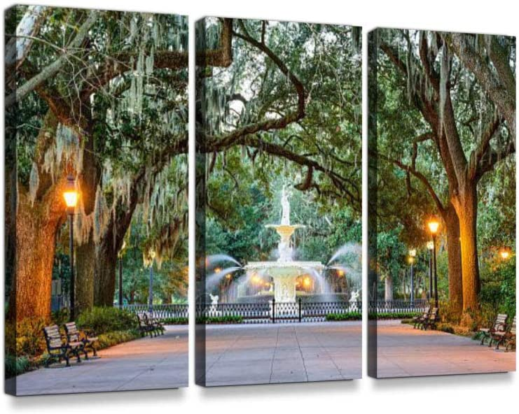 Forsyth Park in Savannah, Georgia Print On Canvas Wall Artwork Modern Photography Home Decor Unique Pattern Stretched and Framed 3 Piece