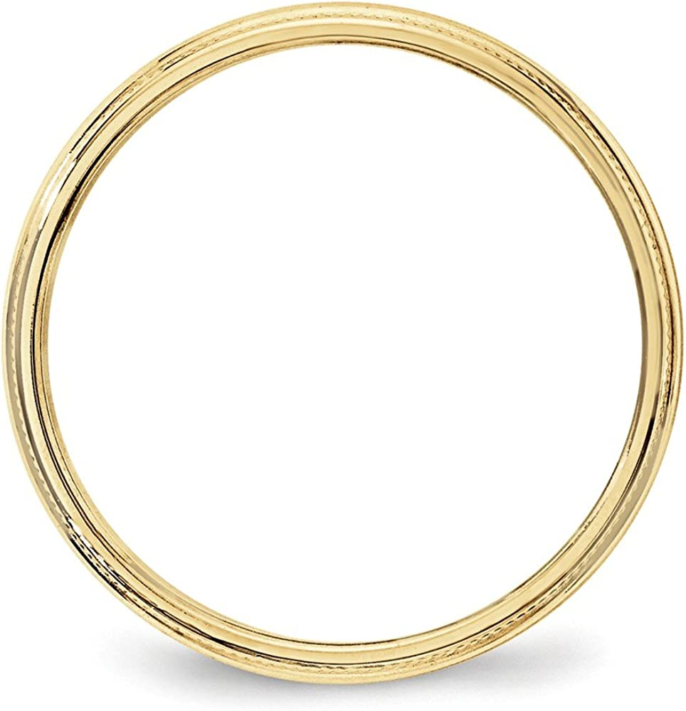 10K Yellow Gold 3mm Milgrain Half Round Band Ring
