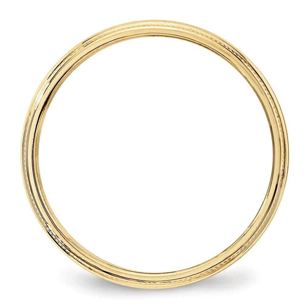 10K Yellow Gold 3mm Milgrain Half Round Band Ring