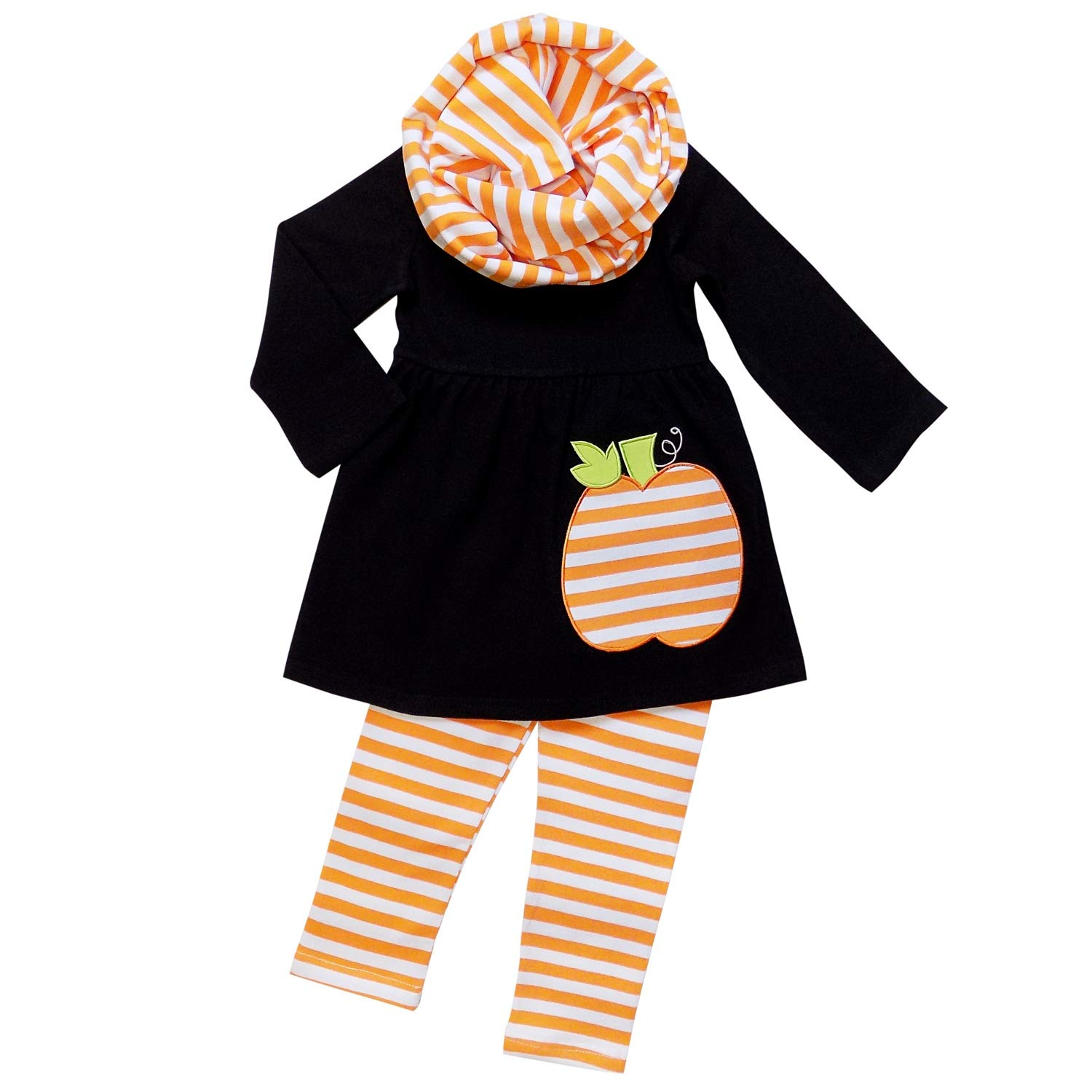 So Sydney Toddler Girls 3 Pc Halloween Fall Tunic Top Leggings Outfit, Infinity Scarf (XS (2T), Stripe Pumpkin Black) HAL3PC-STRIPEPUMPBLK-XS