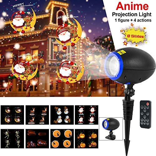 Led Halloween Christmas Projector Lights, Elec3 Outdoor Waterproof Holiday Light Projector Dynamic with 360° Wireless Remote and 8 Interchangeable Colorful Slides [並行輸入品] B07R7RCQ95