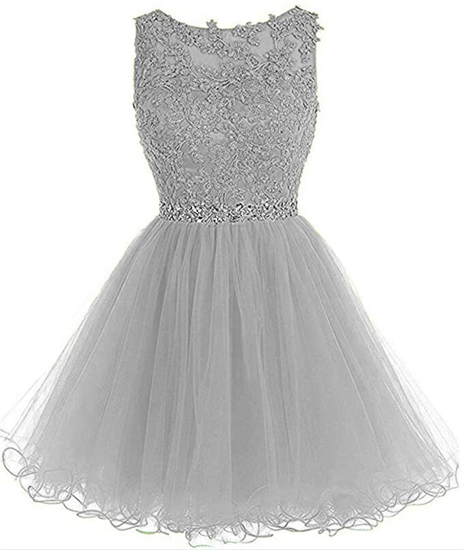 Dydsz Prom Dress Party Homecoming Dresses Short for Women Juniors Cocktail Gown Beaded D126 Silver 2