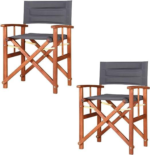Casaria 2X sillas Cannes Plegables con Fundas extraíbles repelentes al Agua de Madera de Eucalipto Exterior Interior: Amazon.es: Jardín
