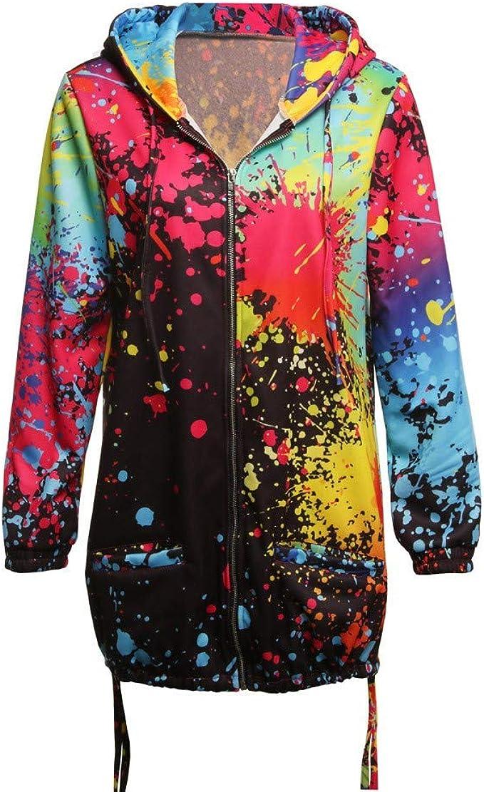 Fashion Womens Tie dyeing Print Full Outwear Sweatshirt Hooded Jacket Overcoat