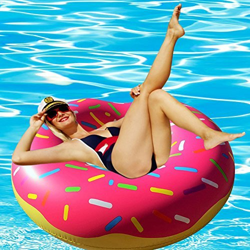 RiffSpheres Giant Donut Pool Float - Adorable 51 inch Gigantic Donut Pool Floats Raft for Adults & for Kids. Click On for The Delicious Chocolate Donut Float. (Great Idea)]()
