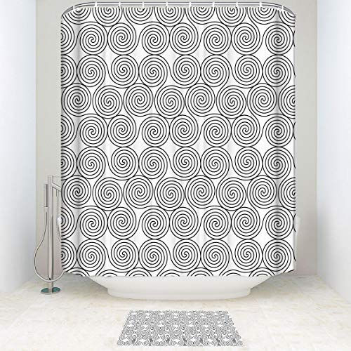 BEISICC Creative Shower Curtain 2 Piece Set Celtic Decor Vintage Constant Triple Spiral Bathroom Accessories Contain:Carpet - Shower Curtain Hooks - Shower Curtain 72W×72Lin/15.7×23.6in