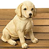 Whole House Worlds The Seated Golden Lab Puppy Dog Garden Statue, Ultra-Realistic Figurine, 6 Inches Tall, Hand Cast and Painted, Polyresin For Sale