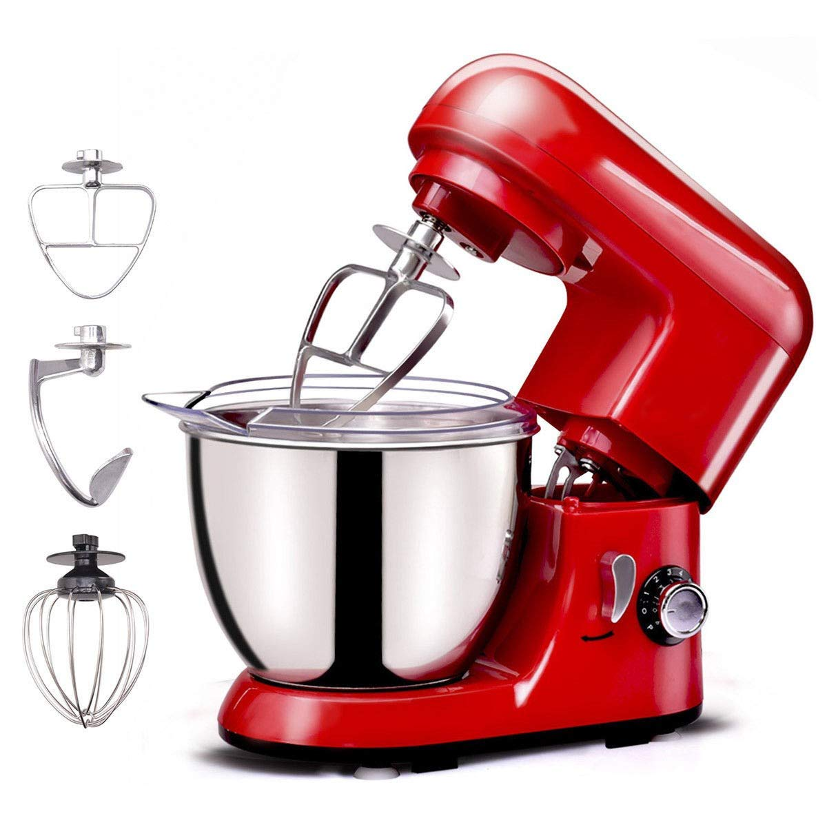 LHONE Electric Food Stand Mixer Tilt-head Stand Mixer 4.3Qt 6-Speed 120V/550W Electric Food Mixer w/Stainless Steel Bowl (Red)