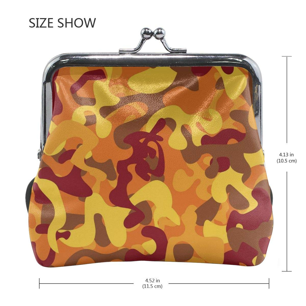 Poream Seamless Autumn Camouflage Customized Retro Leather Cute Classic Floral Coin Purse Clutch Pouch Wallet For Girls And Womens