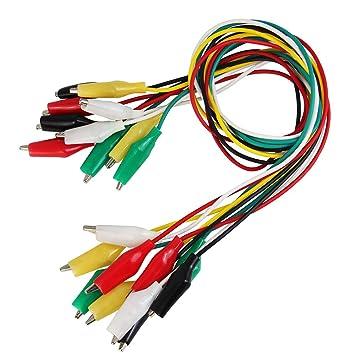 BUZIFU 30 Piezas Pinzas de Cocodrilo con Cable 5 Colores Diferentes Cables de Prueba y Clip de Cocodrilo para Pequeñas Pruebas Electricidad, como Multimetro ...