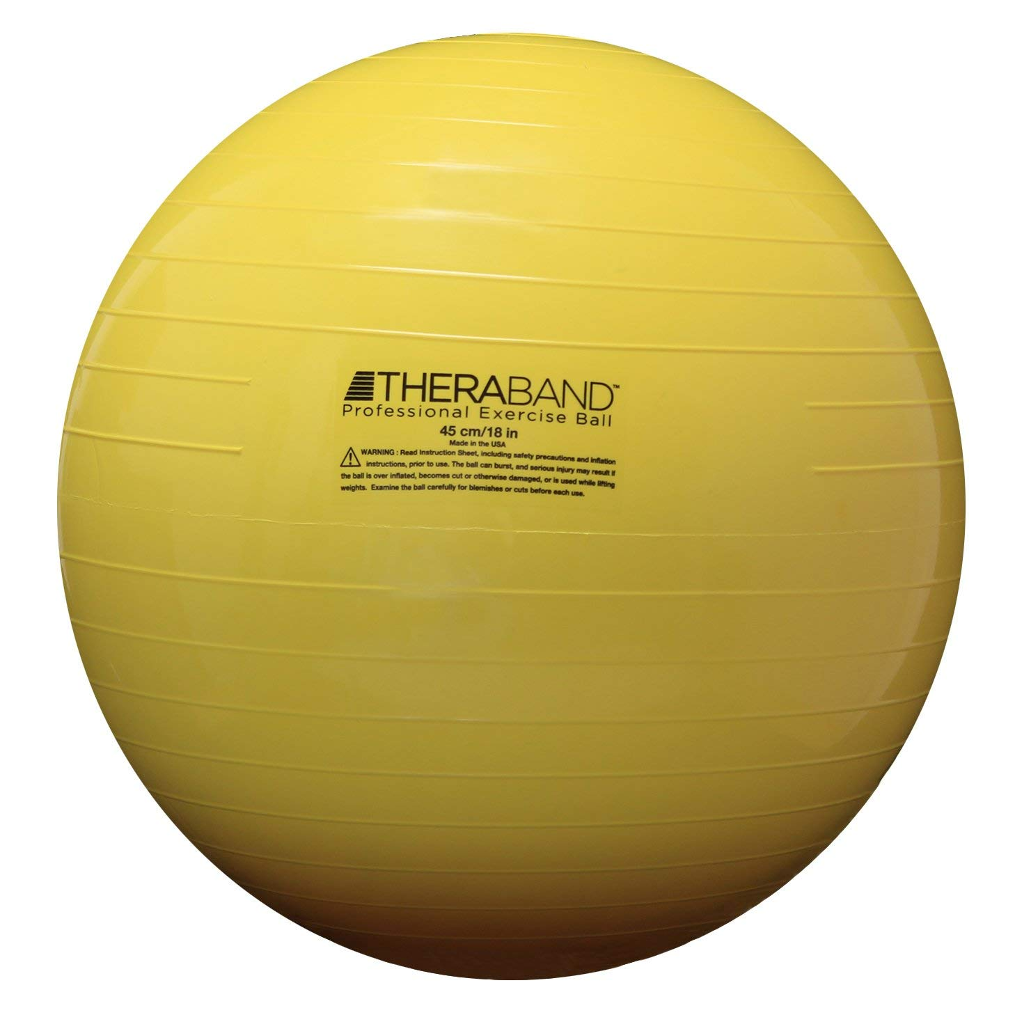 TheraBand Exercise Ball, Stability Ball with 45 cm Diameter for Athletes 4'7'' to 5'0'' Tall, Standard Fitness Ball for Posture, Balance, Yoga, Pilates, Core, and Rehab, Yellow