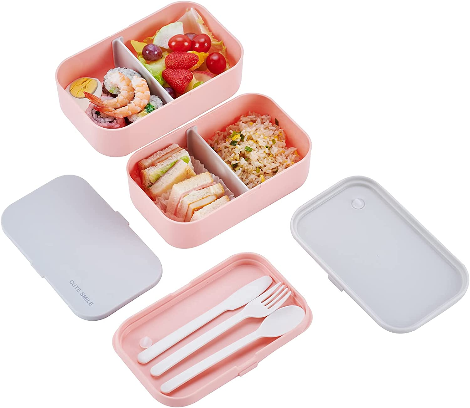 CUTE SMILE Premium Bento Box 2021 New Model Large Size 68 oz Lunch Containers for Women ReusableUtensils BPA-Free Food Storage with2 Compartments& 2 Dividers & Free Carry Bag