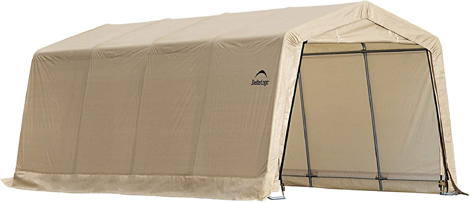 Amazon Com Shelterlogic All Steel Metal Frame Roof Instant Garage And Autoshelter With Waterproof And Uv Treated Ripstop Cover Sports Outdoors