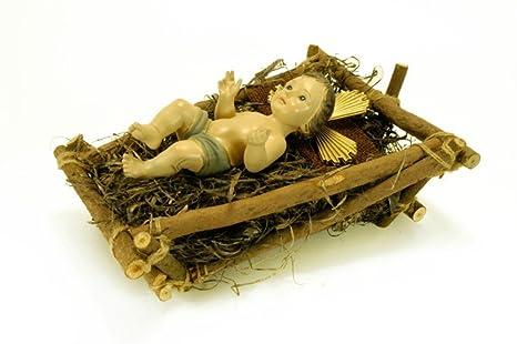 e1ab7c6705e CAPRILO Figura Decorativa Religiosa niño Jesús en Cuna Esculturas Resina.  33 x 25 x 14