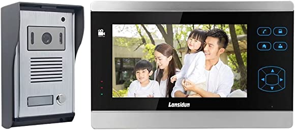Video Doorbell Kit, 7-inch Color Monitors and Surface Mounted HD Camera Video Doorphone, Unlock Control and Night Version Intercom System