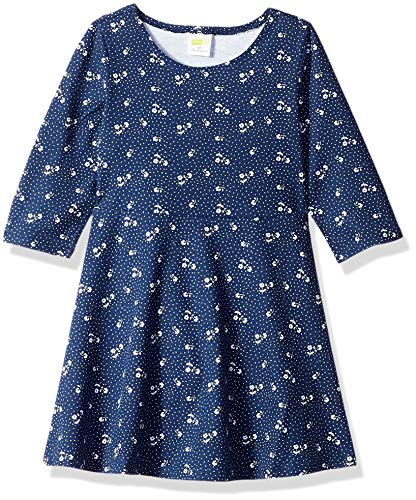 Crazy 8 Girls' Big Long Sleeve Casual Knit Dress, Navy Ditsy Print, 3T -