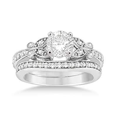 butterfly engagement ring and wedding band bridal set platinum 042ct - Butterfly Wedding Ring