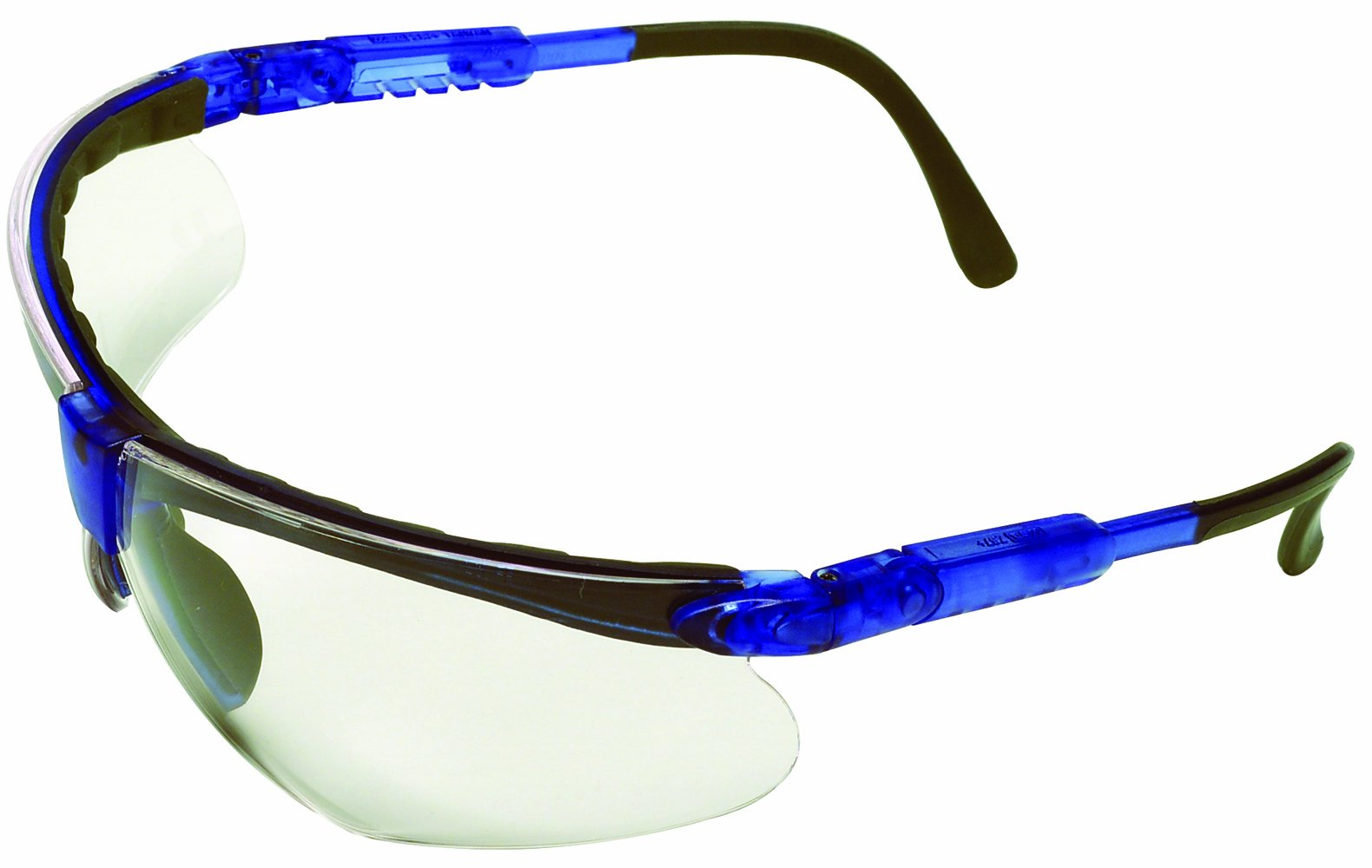 Safety Works 10041055 Padded Brow Guard Safety Glasses, Blue Frame, Clear Lens