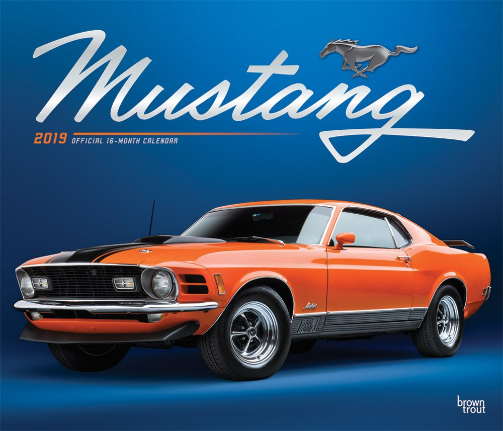 Mustang 2019 12 x 14 Inch Monthly Deluxe Wall Calendar with Foil Stamped Cover, Ford Motor Muscle Car (Multilingual Edition) by BrownTrout Publishers