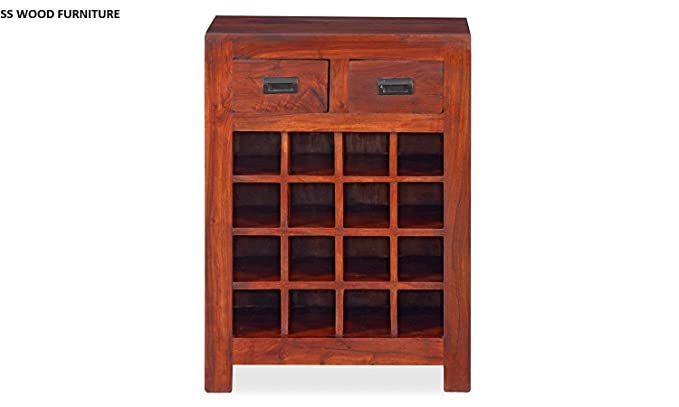 SS WOOD Furniture Bar Cabinet | Wine Rack with Glass Storage | Bar Unit for Home Decor (Sheesham Wood) (Teak Shade)