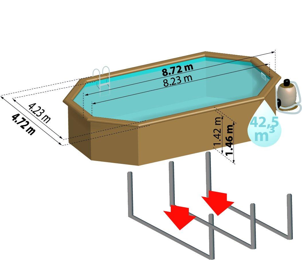 Piscina de madera GRE ovalada Sevilla Wooden Pool GRE 790091: Amazon.es: Juguetes y juegos