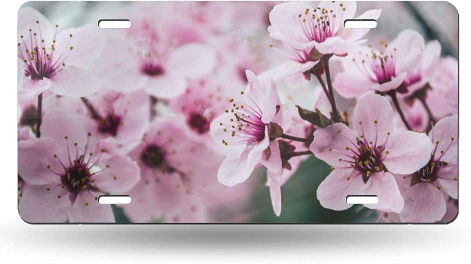 4 Holes ZENPREI Pink Cherry Blossoms License Plate for Decorative Car Front,Vanity Tag,Metal License Plate,Aluminum Novelty License Plate,6 X 12 Inch