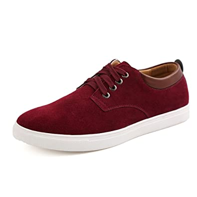 ZhaoDao158 Mens Big Size Suede Comfortable Casual Flats Shoes Wine Red