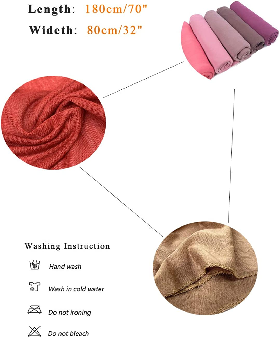 Womens Long Lightweight Jersey Headwrap Turban Headscarf Cotton Full Hair Cover Wrap