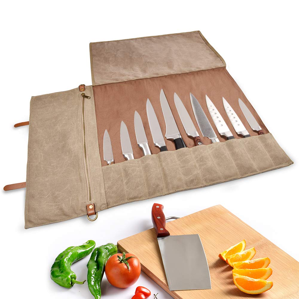 Chef Knife Roll Bag(10 Slots) - Handmade/Durable/Washable/Waterproof Waxed Canvas Stores 10 Knives PLUS Zipper Pocket and Shoulder Strap,Knives Not Included(28'' L x 17.5'' W) by CONVELIFE (Image #2)