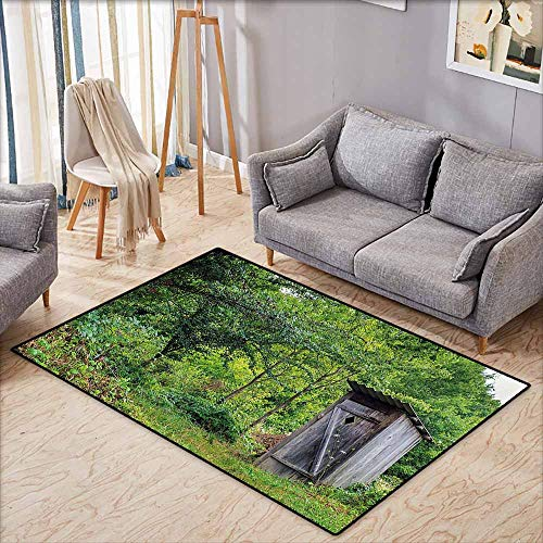 Bath Rug Slip Outhouse Worn Out Cottage Hut in Abandoned Forest Spring Time Vivid Decor Image Fern Green and Grey Personality W5'2 ()